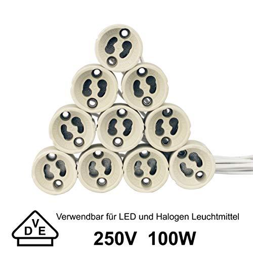 EACLL GU10 Bases para Lámparas, Casquillo Portalámparas Zócalo de Cerámica, Con Cable de Silicona de Calidad, Para GU10 LED y Halógeno, Pack de 10