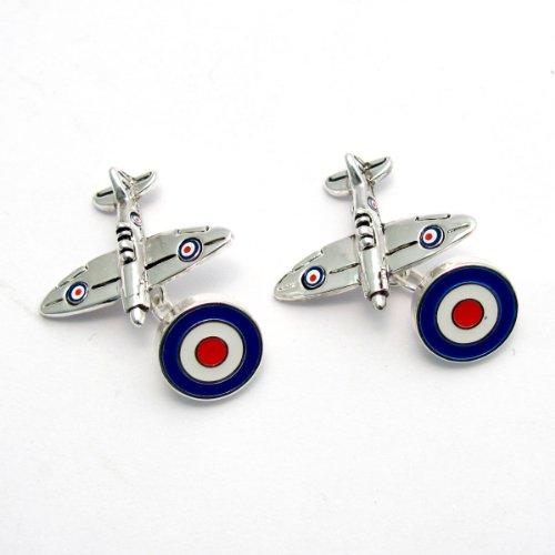 Boutons de manchette fantaisie – Spitfire Avion et Cocarde design