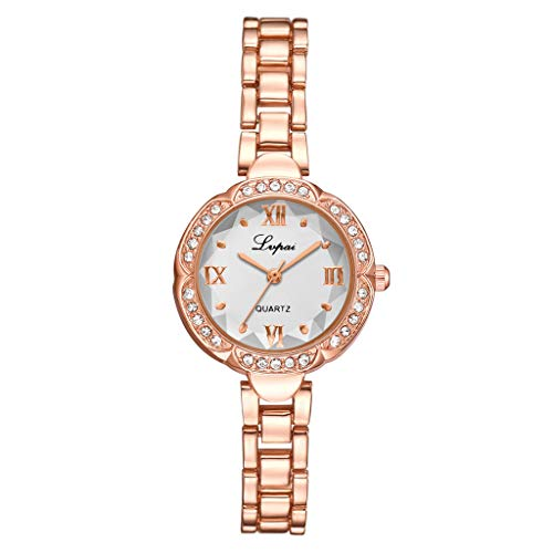Armbanduhr für Frauen,Luotuo Mode Damen Quarzuhr Uhr Klein Exquisit Ø27mm Zifferblatt mit Rostfreier Stahl Armband Uhrenarmbänder Einfach Beiläufig Uhren Taucheruhr Handgelenk Schmuck