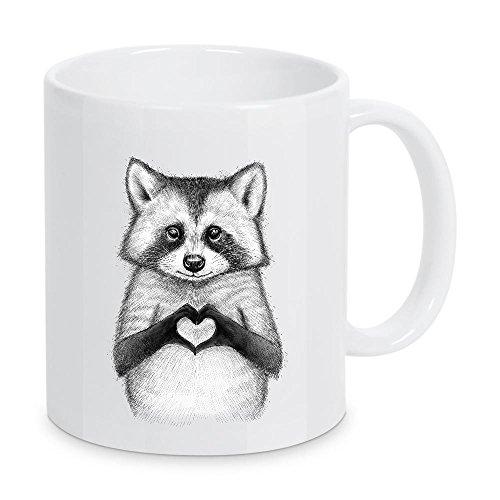 artboxONE Tasse Raccoon with Heart von Nikita Korenkov - Kaffeetasse Kindermotive