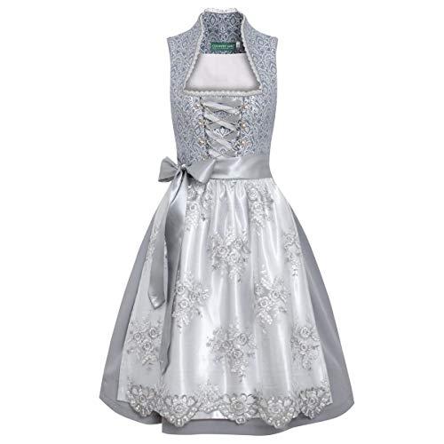 Country-Line Damen Trachten-Mode Midi Dirndl Magaret in Grau traditionell, Größe:42, Farbe:Grau