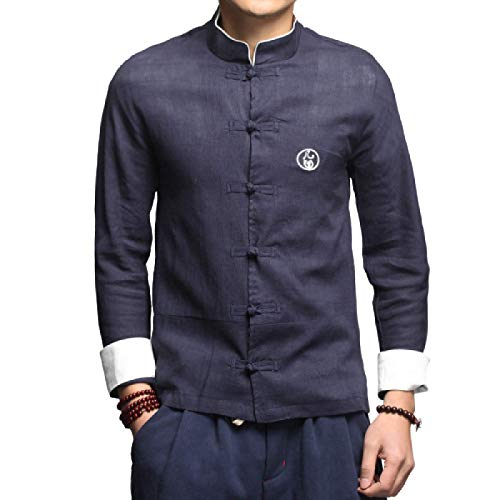 Men's Shirts Spring and Summer Cotton and Linen Embroidery Casual Long-Sleeved Shirts Simple Long-Sleeved Shirts with Disc Buttons 3XL Navy