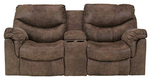 Signature Design by Ashley Alzena Double Reclining Loveseat with Console Gunsmoke