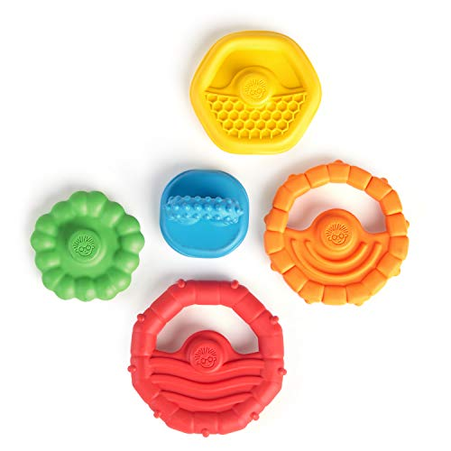 Stack & Teethe Multi-Textured Easy-to-Grasp 5-Piece Teether Toy Set, Ages 3 Months +