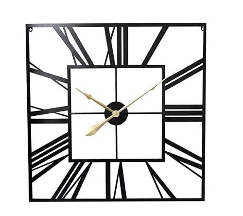 Wdszb Queiting Reloj de Pared Grande Reloj de Pared con números Romanos Reloj de Pared de jardín al Aire Libre Reloj Cuadrado de Esqueleto Cuadrado de Metal de 60 CM para Sala de Estar