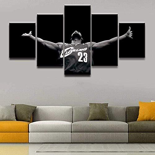 MSKJFD 5 Paneles/Piezas HD impresión Mural de Pared póster Baloncesto Sportmalerei James póster