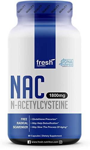 NAC Supplement - N Acetyl Cysteine - Strongest 1800mg DNA Verified Per Day - Nacetyl Cysteine Amino Acids Anti Aging, Glutathione, Oxidative Stress, Detox - Pure NAC Powder in 90 capsules - Vegan Safe