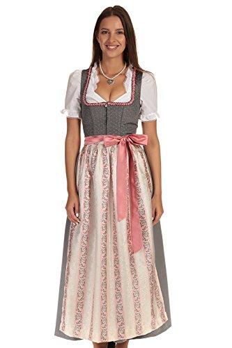 Turi Landhaus Damen Dirndl lang festliches Dirndl Kleid Tracht D811037 Lara 95cm anthrazit Gr. 40
