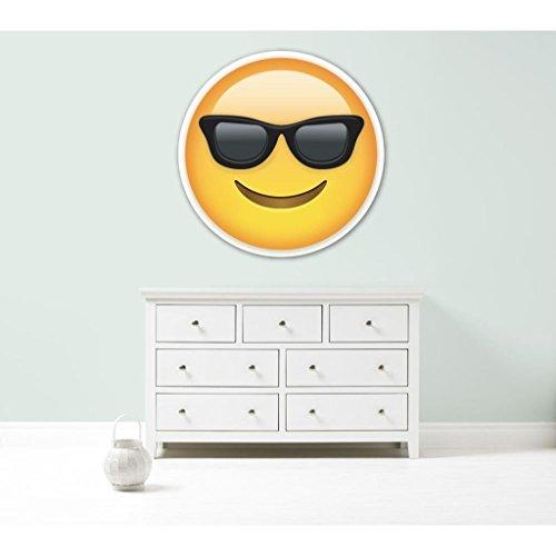 Kapowboom Graphics Emoji Emoticonos Gafas de Sol Cool Gigante Coche de Pared Vinilo Adhesivo 3tamaños Dormitorio, Vinilo, Medium - 70cm Wide
