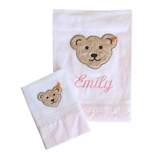 Steiff Baby-/Kinder-Bettwaesche-Garnitur mit Ihrem Wunsch Namen bestickt 2985 rosa, 100 cm x 135 cm / 40 cm x 60 cm