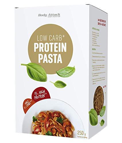 Body Attack Protein-Low-Carb-Pasta 250g Packung - 65g Protein auf 100g und nur 10g Kohlenhydrate (High Protein) - leckere Eiweiß Nudeln, inkl. gratis Kochrezept (auf der UVP.) Made in Germany