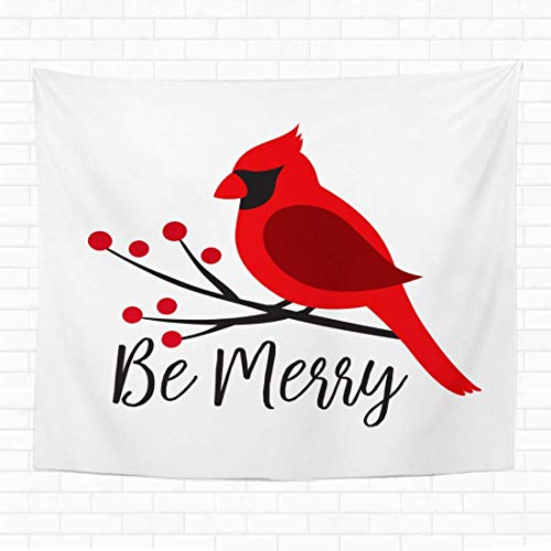 henghuidashi 60x80 Inch Tapestry Wall Hanging Red Cardinal Bird on a Winterberry Branch Christmas Winter Bird on a Tree Graphic Home Decorative Tapestries Wall Blanket for Dorm Living Room Bedroom