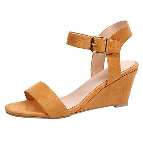 Damesschoenen met hoge hakken, sandalen met enkelriem, pep-toon, comfortabele schoenen met wighak voor dames.