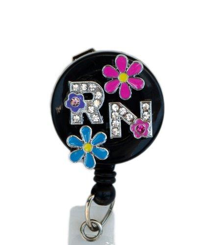 3D Pink Blue Flower RN Logo Nurse Rhinestone Retractable Badge Reel/ID Badge Holder