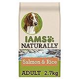 IAMS NATURALLY Alimentación de mascotas para perro adulto con salmón del Atlántico Norte y arroz, 2,7 kg