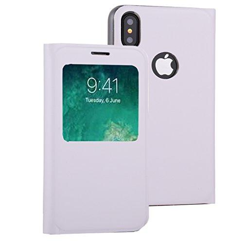 ZHANGYOUDE Para iPhone X Litchi Texture Horizontal Flip Funda de Cuero con identificador de Pantalla de Llamada (Color : Blanco)