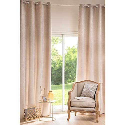 eurostile Cortina de ventana Iris beige transparente con ojales de aluminio suave para dormitorio y salón 140 x 280 cm n 1 panel