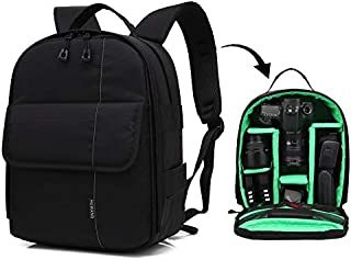 LIAOWUXIANG Outdoor Sports Camera Bag Portable Waterproof Scratch-Proof Polyester Surface Material Dual Shoulders Backpack (Orange) (Color : Green)