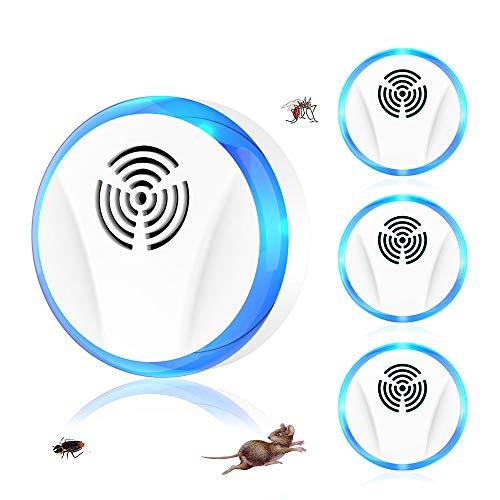 Ultraschall Mäuseabwehr Schädlingsbekämpfer 4 Stück, 2021 Plug-in Schädlingsbekämpfungsmittel, elektronisches Innenmäuse Abwehrmittel für Mücken Mäuse Spinnen Kakerlaken Fliegen Wespen Flöhe