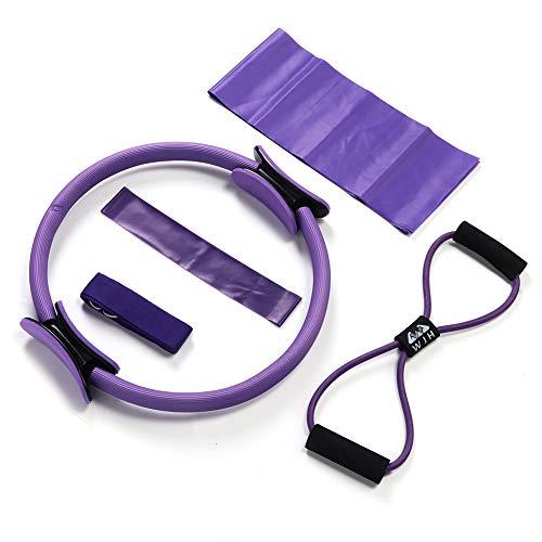 WGYDREAM Pilates Circle Yoga Ring Anillo De Pilates Círculo Mágico 5 Unids/Set Anillo De Pilates Toalla De Látex Cuerda Expansor De Pecho Cinturón Elástico Bucle De Resistencia