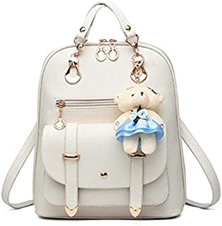 Women's Backpack Purse Pu Leather Ladies Casual Shoulder Bag School Bag for Girls-White