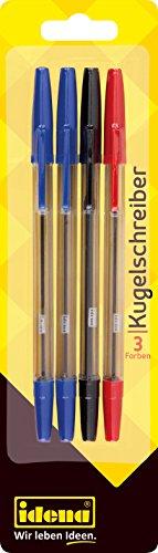 Idena 512488 - Kugelschreiber, 3 Schreibfarben, sortiert, 4 Stück