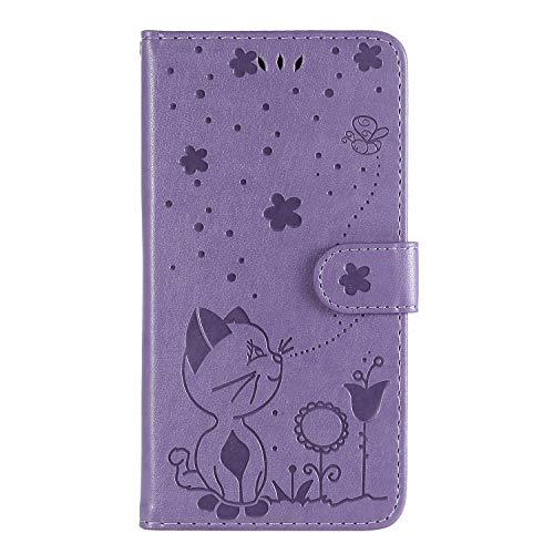 Tosim iPhone XR Hülle Klappbar Leder, Brieftasche Handyhülle Klapphülle mit Kartenhalter Stossfest Lederhülle für Apple iPhone XR - TOKTU160074 Violett