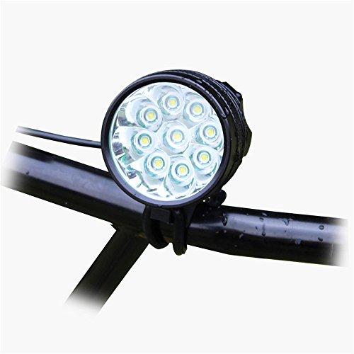 Amadoierly 9 lumières T6 bicyclettes lumières lumières d'équitation de Nuit éblouissement LED lumières phares DC Interface, Phare + Tablier