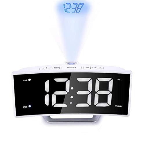 Reloj despertador FM Radio Despertador LED Digital Electrónico Mesa Proyector Reloj Escritorio Nixie Proyección Reloj Con Proyección de Tiempo Blanco
