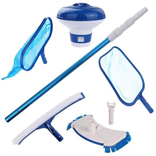 your GEAR Pool Reinigungsset PCS - 6-teiliges Set zur Poolreinigung mit Stange Kescher Bürste Bodensauger Dosierschwimmer