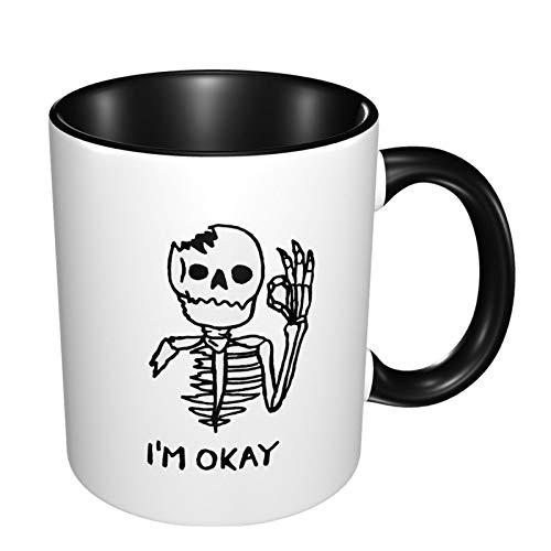 Im Okay Skull Skeleton Stoneware Coffee Mug Colorful Cereal Cup Custom Festival Supply Mugs Gift For Boys