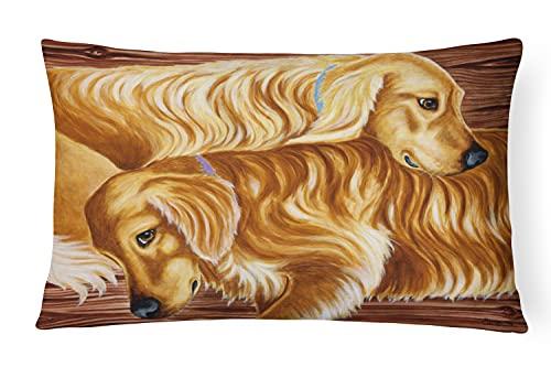 """Caroline Tesoros del Zeus & Chloe el Golden Retriever Tela Almohada Decorativa, 12""""X 16"""", Multicolor"""