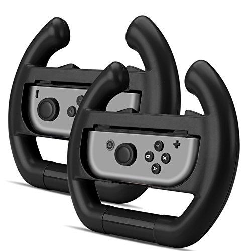 TNP Joy-Con Lenkrad Set, Griffe Aufsatz für Nintendo Switch Racing, Wheel Hülle für Mario Kart Game Rennspiel Controller Adapter Lenkradhalterung Halter Zubehör Schwarz (2er-Pack)