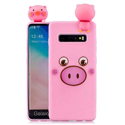 Huiran Pink - Ferkel Case for Samsung Galaxy S10 Version Hülle Soft Back Cover Handyhülle Candy Farbe Lovely 3D Panda Ferkel Design Slim Flexible Schutzhülle Bumper