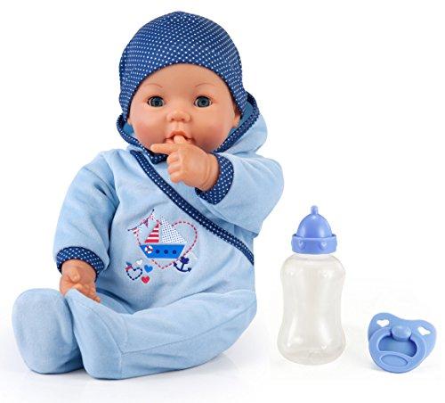 Bayer Design 94683AA -Funktionspuppe Hello Baby Boy mit Zubehör, 46 cm, blau
