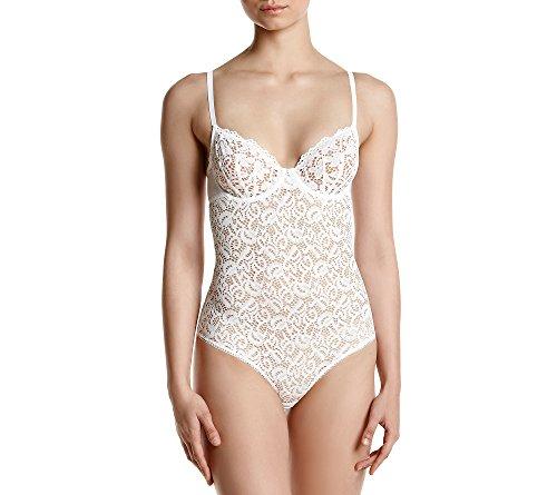 DKNY Women's Classic Lace Body Suit, poplin White, X Large