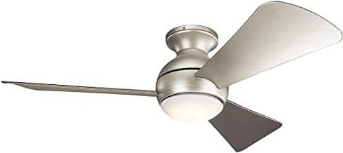 Kichler 330151NI 44 Inch Sola Ceiling Fan LED, 3 Speed Wall Control Full Function, Brushed Nickel Finish with Silver Blades