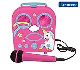 Lexibook, alta, Unicornio-Karaoke Micro Star inalámbrico, con Bluetooth, micrófono, toma auxiliar, puerto USB, altavoz portátil color ROSA, a partir de 3 años (BTC050UNI)
