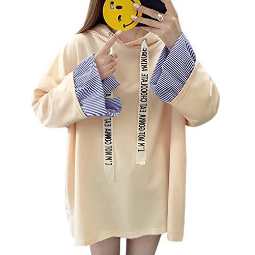 Elonglin Sweat-Shirt À Capuche Femme Casual Hoodie Printemps-Automne Pullover Décontracté Lâche Grande Taille Beige Poitrine 53.5 inch (Asie M)