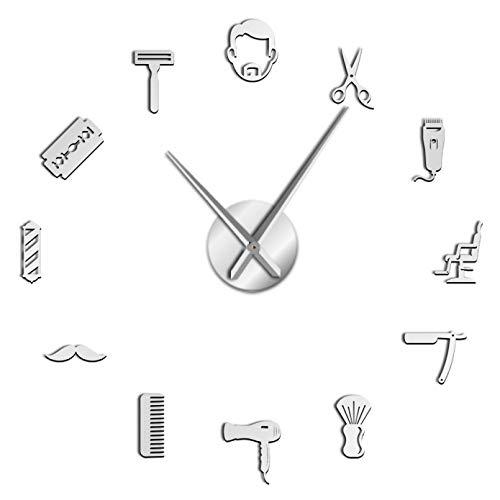 YQMJLF Reloj Pared DIY 3D Grande Barbería Estilo barbería Grande DIY Reloj de Pared silencioso Peinado Masculino Bigote Hombre barbero Herramientas Decorativo Gigante Reloj Mudo Plata
