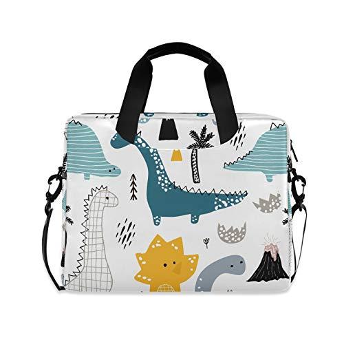 OOWOW Laptop Bag for Women Men Cute Animal Cartoon Dinosaur Lightweight Briefcase 14 15.6 16in Laptop Sleeve Case Computer Shoulder Messenger Bag