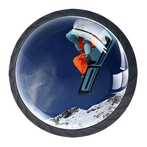 Snowboarden Bergschnee Kristall Schublade Griffe Möbel Glasschrank Knöpfe Mode Garderobe Tür Schublade Griffe zieht mit Schrauben für Home Kitchen Office Kommode 4 Stk 35mm
