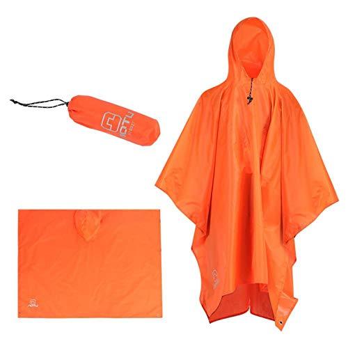 SALUTUYA Portátil Impermeable Ligero Al Aire Libre Sombrilla Lona Impermeable Poncho con Capucha para Escalar Camping(Orange)