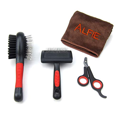 Alfie Pet - Jesse 4-Piece Pet Home Grooming Kit with Microfiber Fast-Dry Washcloth for Rabbit, Chinachilla and Guinea Pig - Color: Black