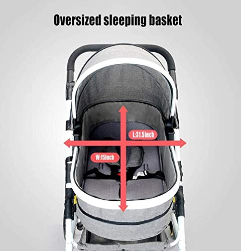 LAMTON Baby Stroller High Landscape, City Jogging Four-Wheel Collapsible Two-Way Shock Adjustable Baby Stroller to Send Mosquito Net Cotton Pad Foot Cover Wrist Band, Suitable for 0-36 Months Baby LAMTON This double stroller features an aeronautical aluminum frame that makes it lighter and stronger, and the fabric is made from linen for a more breathable and refreshing look. The front wheel design of the stroller can be rotated 360°, the built-in spring shockproof, strong shockproof, adapt to a variety of review roads, making the baby more comfortable. Stroller configuration: equipped with a five-point seat belt, detachable armrests, adjustable pusher height, and an enlarged basket at the bottom. 7
