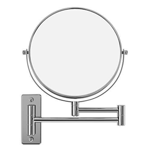SONGMICS 10x Vergrößerungsspiegel, um 360° schwenkbarer Kosmetikspiegel, wandmontierter runder Badezimmer-Rasierspiegel, Ø 20cm, doppelseitig, mit Klapparm, ausziehbar, aus Edelstahl, BBM001
