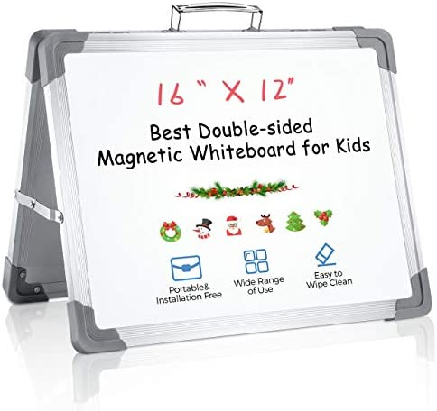 RIOFLY Small Dry Erase Board 16 x 12 Magnetic Double Sided Desktop Whiteboard Portable Easel product image