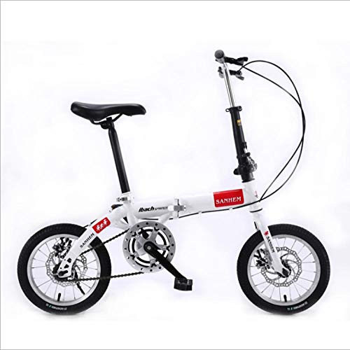 DGAGD 14 inch Lightweight Folding Bicycle Single Speed disc Brake Bicycle White