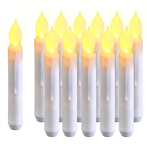 Amagic 12PCS Harry Potter Floating Candles, 6.9 Inch Flameless LED Taper Candle Lights, Battery Operated Candlesticks for Party Classroom Church Birthday Thanksgiving Decorations, Warm White, Handheld
