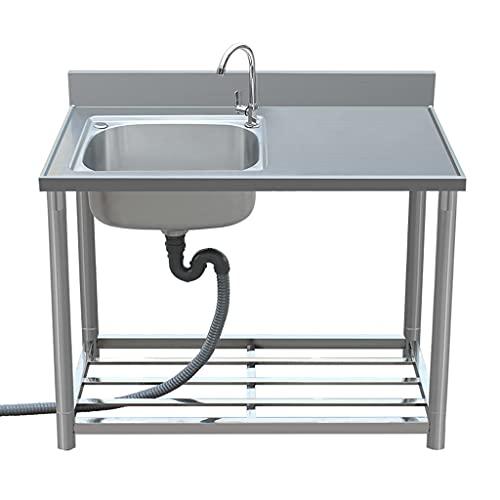 Fregadero comercial de un solo lavabo de acero inoxidable con plataforma de soporte, grifo, desagüe, rejilla de almacenamiento, fregadero de agua extraíble para comedor (longitud: 80/90/100 / 120cm